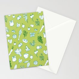 Pastel Vegetables & Herbs Pattern Stationery Cards