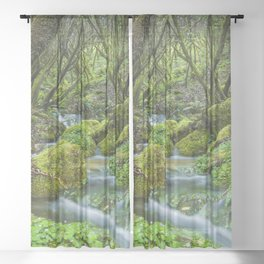 Deep in the green forest Sheer Curtain