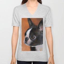 Perky Boston Terrier Unisex V-Neck