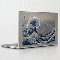 fibonacci Laptop & iPad Skins featuring Hokusai Meets Fibonacci by Vi Sion