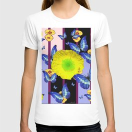 BLUE BUTTERFLY &  LEMON YELLOW FLOWER FLORAL CAGE T-shirt