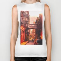 new york city Biker Tanks featuring New York City Alley by Vivienne Gucwa