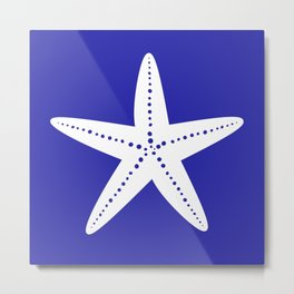 Starfish (White & Navy Blue) Metal Print