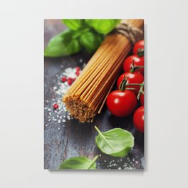 Spaghetti and tomatoes with herbs on an old and vintage wooden table Metal Print