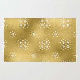Merry christmas- white winter stars on gold pattern I Rug