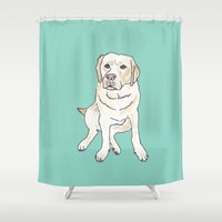 labrador Shower Curtains featuring Yellow Labrador by Tammy Kushnir