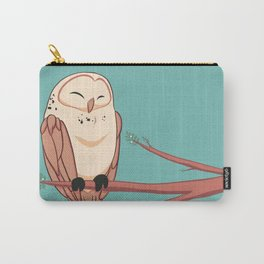 Happy Owl on a Branch Carry-All Pouch
