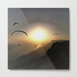 Paragliders Flying Without Wings Metal Print
