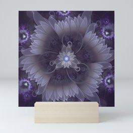 Amazing Fractal Triskelion Purple Passion Flower Mini Art Print