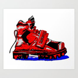 Red and blue shoe Art Print