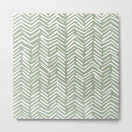 Boho, Abstract, Herringbone Pattern, Sage Green and White Metal Print