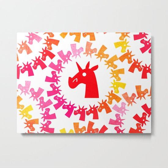Color Me Red Unicorn Metal Print