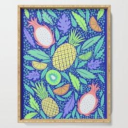 Summer Fruit on Blue Serving Tray