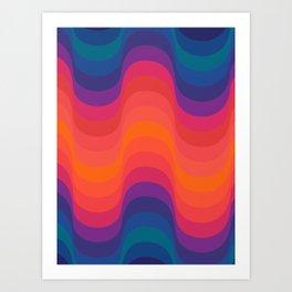 Retro Sacred Geometry | 70s Wavy Vibe Art Print