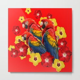 TROPICAL BLUE MACAWS & RED YELLOW HIBISCUS RED ART Metal Print