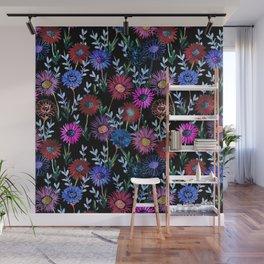 Gillian Floral Black Wall Mural