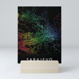 Sarajevo, Bosnia and Herzegovina, City, Map, Rainbow, Map, Art, Print Mini Art Print
