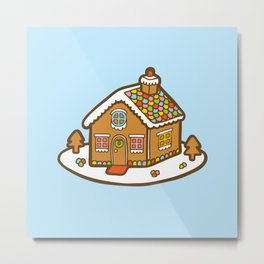 Gingerbread House Pattern - Christmas Day Metal Print