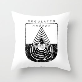 Caffeine on the Brain // Regulated by Coffee Espresso Drip Distressed Living Graphic Design Throw Pillow