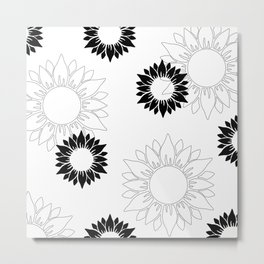 Sunflower pattern with white and black flower. Minimalizm. Metal Print