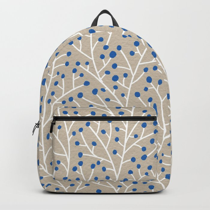 Blue & White Berry Branches Backpack