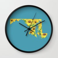 maryland Wall Clocks featuring Maryland in Flowers by Ursula Rodgers