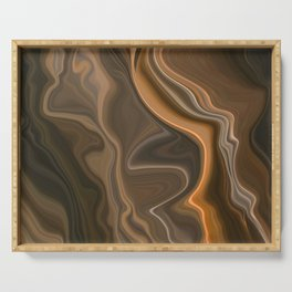 Golden Coppery Ombre Deep Marbled Abstract Texture Serving Tray