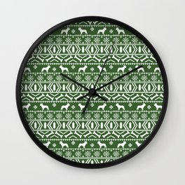 Boston Terrier fair isle dog pattern silhouette christmas sweater green and white Wall Clock