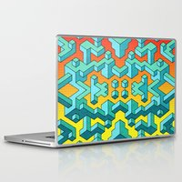 miles davis Laptop & iPad Skins featuring Miles and Miles of Squares by Mister Phil