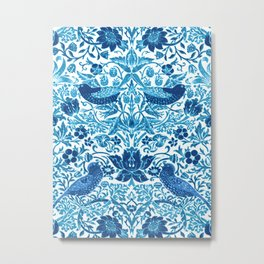 Art Nouveau Bird and Flower Tapestry, Blue and White Metal Print