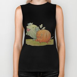Watermelon dog and pumpkin pup Biker Tank