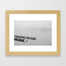 Small boat lake black white Framed Art Print
