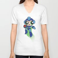mega man V-neck T-shirts featuring Mega Puff Man by Unihorse