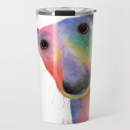 Nosey Dog Whippet / Greyhound ' HANK ' by Shirley MacArthur Travel Mug