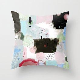 Peinture tons pastels chat oiseau bulles abstrait moderne Throw Pillow