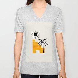 Minimalist Minimal Mid Century Abstract Middle Eastern Ancient Ruins Palm Tree Sun Unisex V-Neck