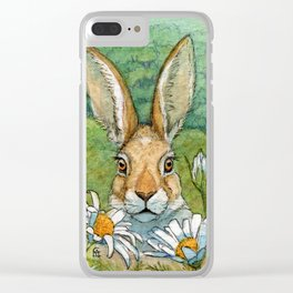 Funny bunnies - with Chamomiles 889 Clear iPhone Case