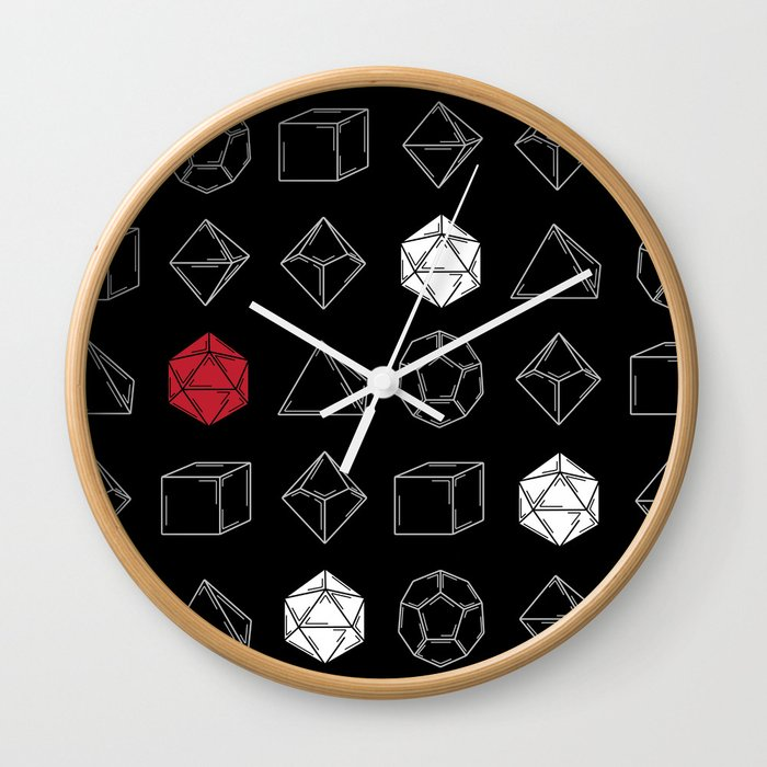 Black Dungeons and Dragons Dice Set Pattern Wall Clock