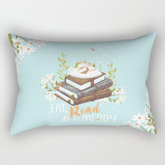 Eat, Read & Be Merry - Globe Rectangular Pillow