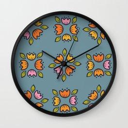 folk  flower collection Wall Clock