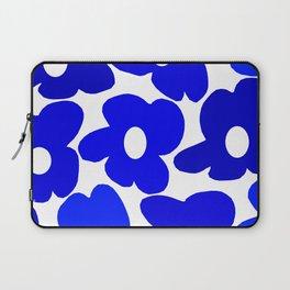 Large Blue Retro Flowers White Background Fresh Blue And White  #decor #society6 #buyart Laptop Sleeve