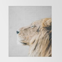 Lion Portrait - Colorful Throw Blanket