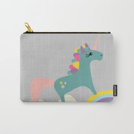 unicorn and rainbow gray Carry-All Pouch