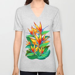 Bird of Paradise Flower Exotic Nature Unisex V-Neck