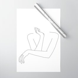 Minimal line drawing of woman's folded arms - Anna Wrapping Paper