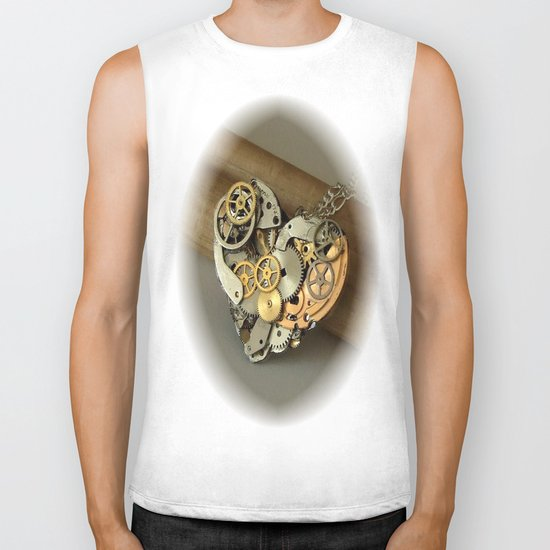 Steampunk Heart of Gold and Silver Biker Tank
