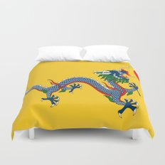 Chinese Dragon - Flag of Qing Dynasty Duvet Cover