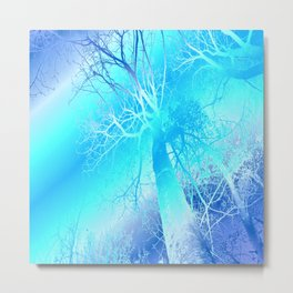 Psychedelic Trees (ice blue) Metal Print