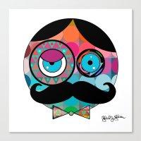psychadelic Canvas Prints featuring Mr. Mustache Man Psychadelic Invert by Gabriel J Galvan