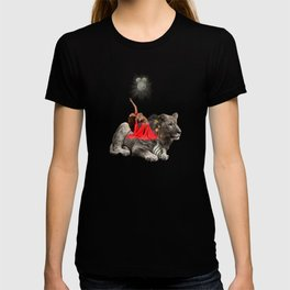 Lion and red woman collage T-shirt